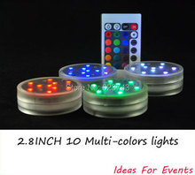 50pcs Multi colors Remote control Submersible LED light waterproof, vases base light,colorful underwater wireless