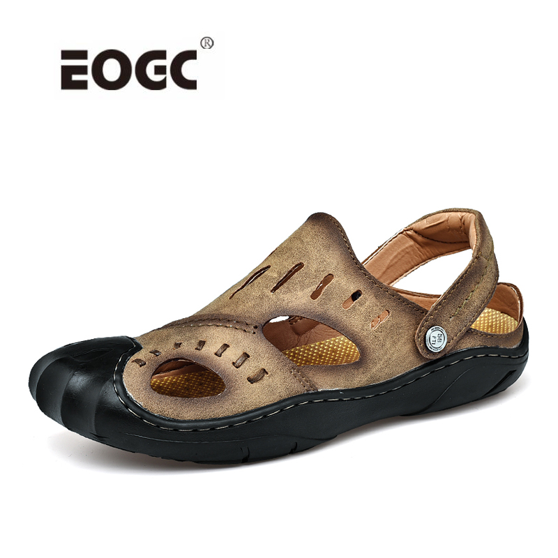 Fashion Mens Sandals Summer Slippers Leather Shoes Men Beach Breathable Home Slippers Flip-Flops Zapatos Sapato
