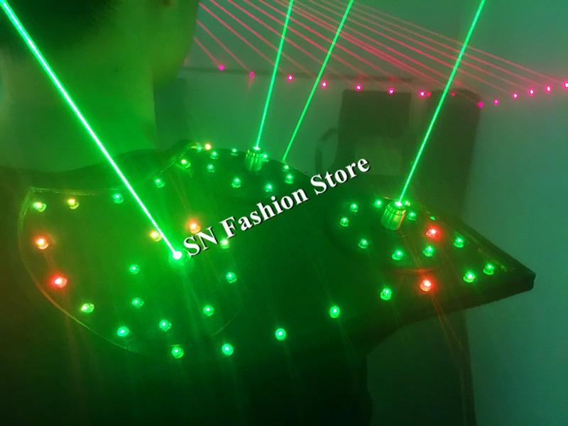 T16 Colorful light ballroom laser vest dj laser costumes dance wears laser glasses red laser suit led clothes shoulder led vest 24