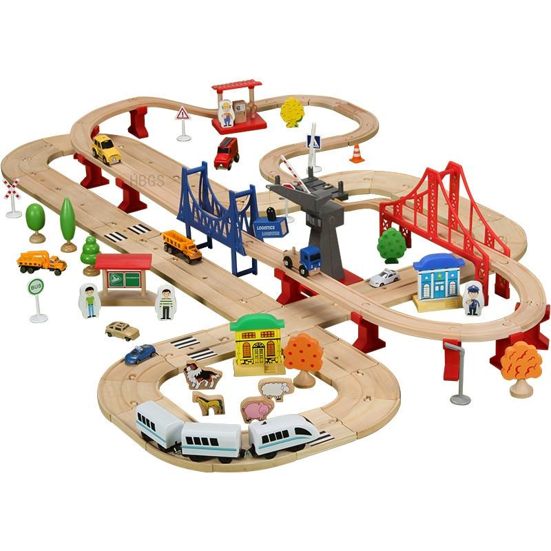 Nouveau Train en bois complet piste de luxe chemin de fer jouet bloques de chemin de fer