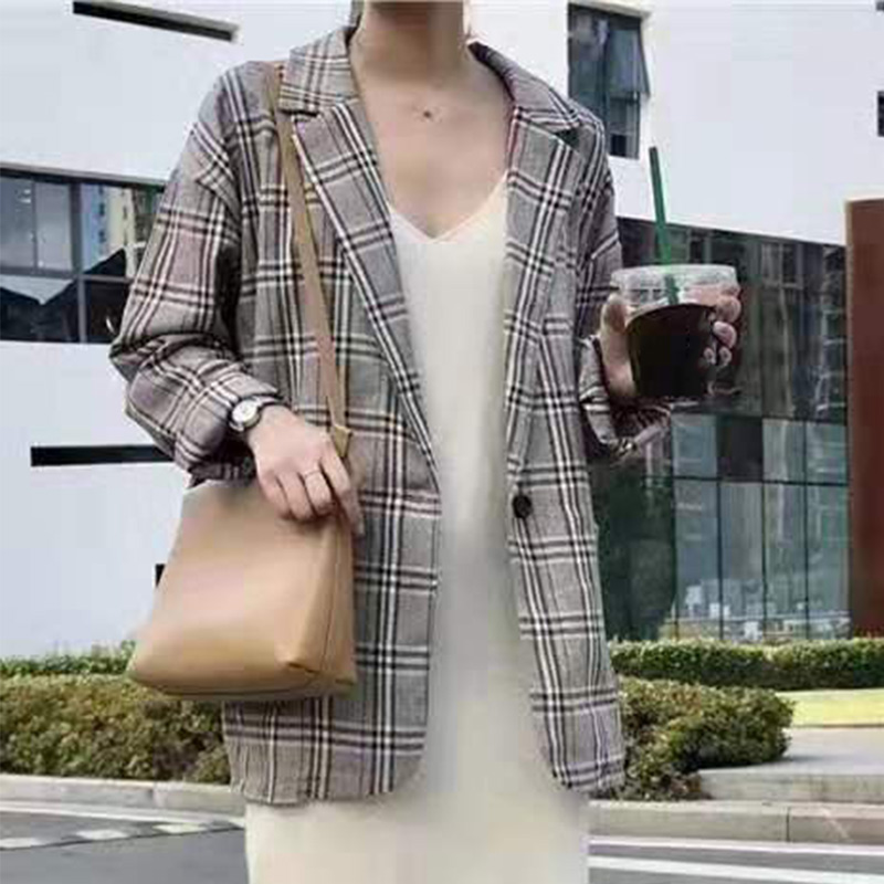 Plaid Print Long Sleeve Office Lady Blazer Turn-down Collar England Style Women Blazers Coat Casual Loose Female Clothes 2020