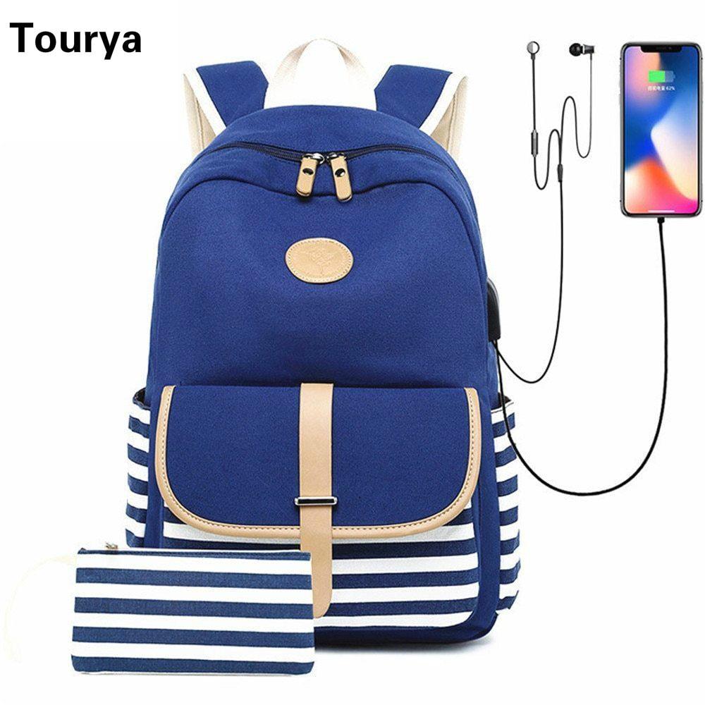Tourya Fashion Canvas Women Backpack USB Charging Earphone Hole Large Capacity School Bags Laptop Travel Bagpack For Girls