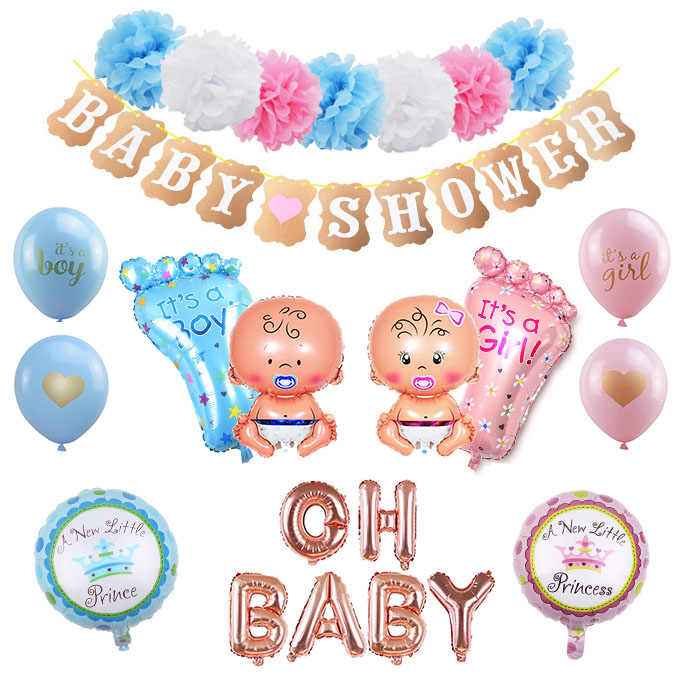Baby Shower Boy Girl Hanging Decoration It's A Boy Girl Oh Baby Balloon Gender Reveal Kids Birthday Party Decoration Supplies 75