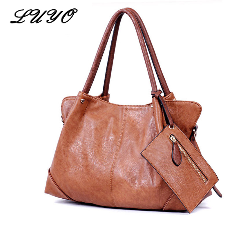 Luyo New Arrival All match Hobos High Quality Soft Leather Large Women Messenger Bags Casual Shoulder