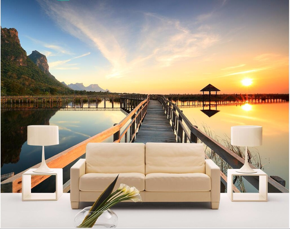 Custom photo 3d wallpaper Sunset sea view wooden bridge pavilion Home decor painting 3d wall murals wallpaper for living room custom photo 3d wallpaper sunset sea