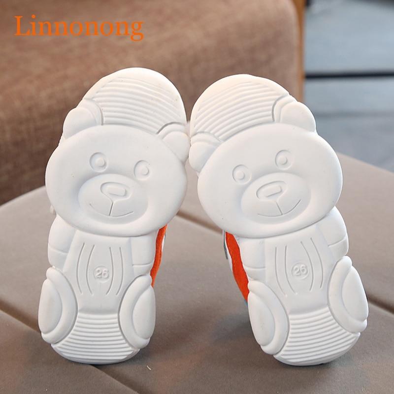 Linnonong 2019 Autumn Children Sneakers Fashion Kids Soft Spring Sport Running Shoes for Baby Girls Boys Little Bear Bottom Shoe