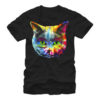 Lost Gods Tie-Dye Hippie Cat Mens Graphic T Shirt