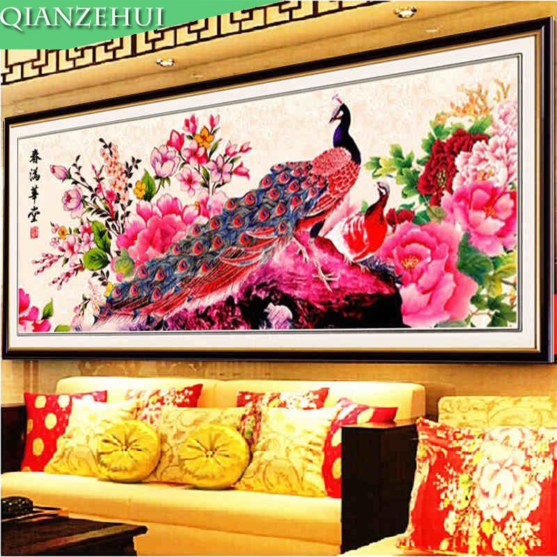QIANZEHUI,Needlework,DIY Printing Peony Flower Vase Cross Stitch, The Peacock Peony For Embroidery Kits Cross-Stitching