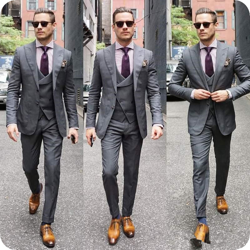 Italian Grey Mens Wedding Suits Double Breasted Man Blazers Jacket Wide Peaked Lapel 3Pieces Custom Made Groom Tuxedos Ternos in Suits from Men 39 s Clothing
