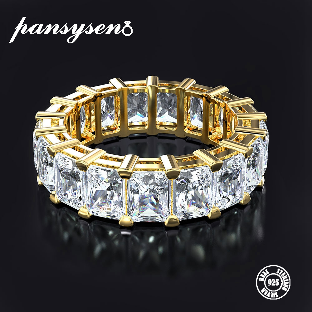 PANSYSEN Exquisite Gold Color Engagement Rings For Women Sterling 925 Silver Jewelry Moissanite Ring Fine Jewelry Gift Size 5-12