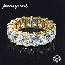 PANSYSEN Exquisite Gold Color Engagement Rings for Women Sterling 925 Silver Jewelry Moissanite Ring Fine Gift Size 5-12