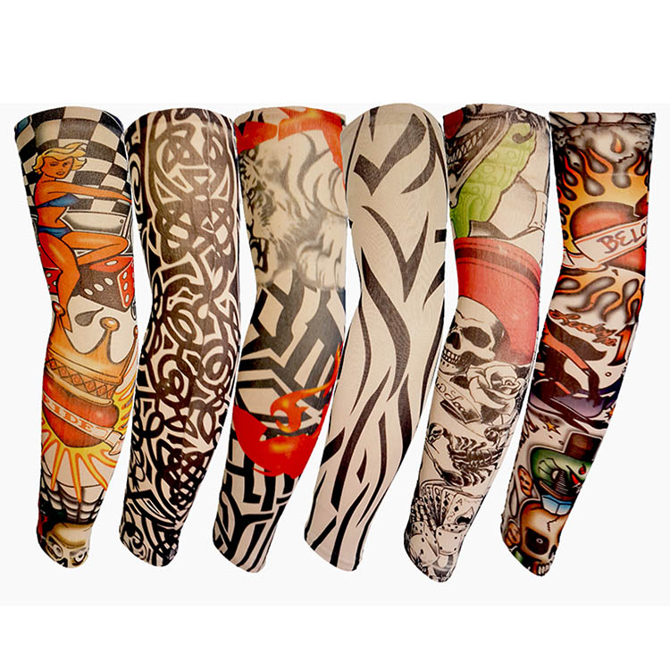 6/10/20Pcs Nylon Elastic Fake Temporary Tattoo Sleeve Body Arm Warmers Wholesale