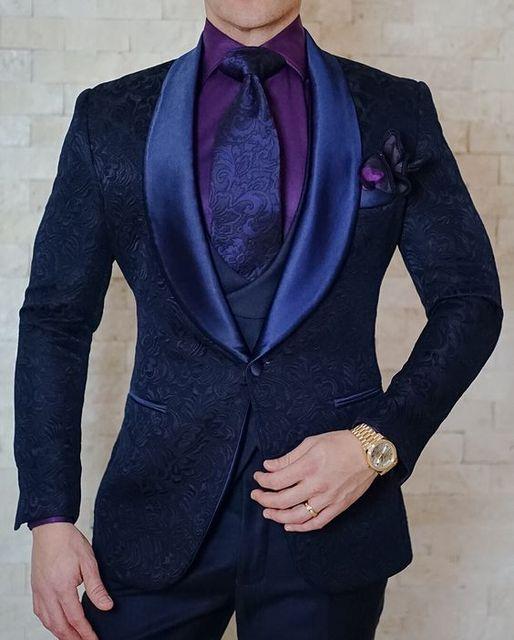2018 adaptado azul marino patrón traje hombres novio floral boda smoking  Trajes slim fit 3 unidades 1bfde971ec14