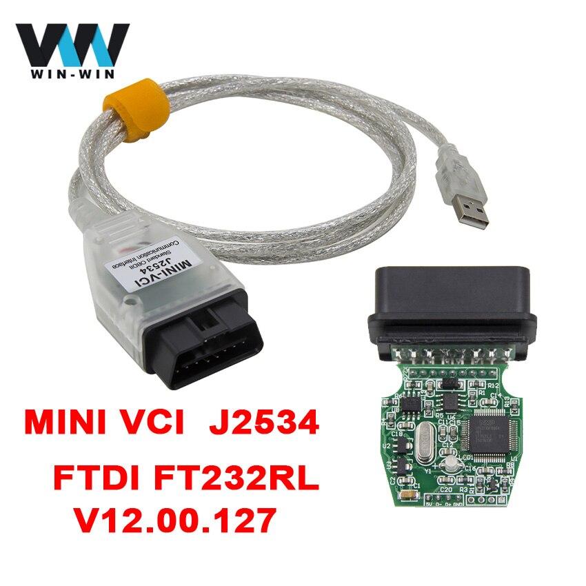 Prix pour POUR TOYOTA MINI VCI J2534 v12.00.127 FTDI FT232RL Puce De Diagnostic Câble TIS Techstream OBD2 Outil De Diagnostic De Voiture Code Scanner