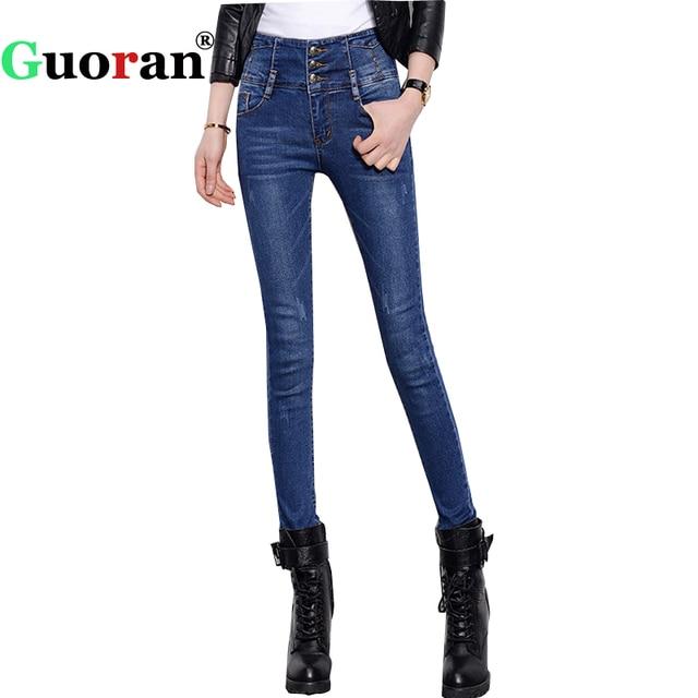 acheter guoran taille haute femmes denim bleu jeans pantalon plus la taille 34. Black Bedroom Furniture Sets. Home Design Ideas