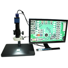 Buy Microscope industrial camera hd 2.0 MP camera high-speed 60 frames VGA output+10X~180X C-mount Lens+big stents+144 LED Light