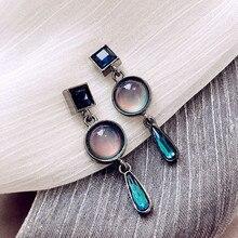 New Luxury Charm Round Water Drop Earring Geometric stud earrings Long Dangle Earrings for Women Fashion Boucle Doreille Femme