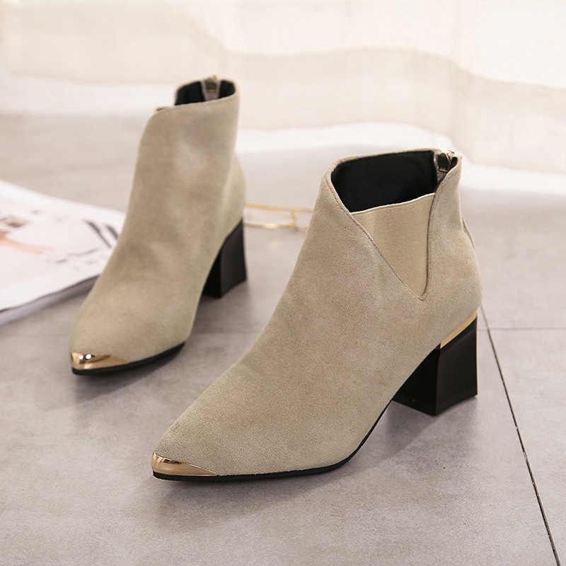 Tino Kino/2019; осенние женские ботинки «Челси»; женские модные ботильоны на высоком квадратном каблуке с острым металлическим носком и молнией; пикантная женская обувь