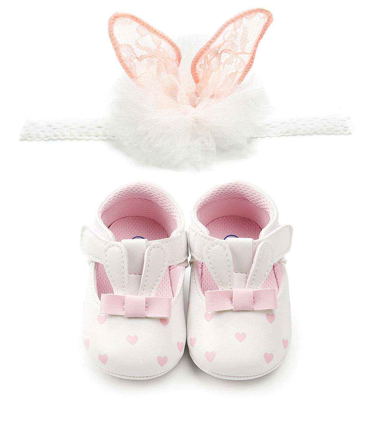 Easter Newborn Baby Girls Shoes Bunny Ears Anti-slip Pu Leather First  Walkers With Headband Soft Crib Shoes