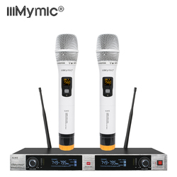 iiiMymic Audio Wireless Microphone IU-412 Metal construction PRO Karaoke UHF Dual 2 Channel System with 2 MIC Fixed Frequency