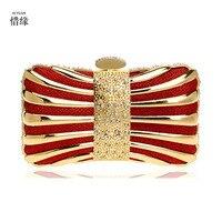 XI YUAN MARKE frauen Kupplung Mini Hardcase Metall Erfasst Abend Umhängetasche Partei Abendessen Handtasche für mädchen geschenke rot gold schwarz