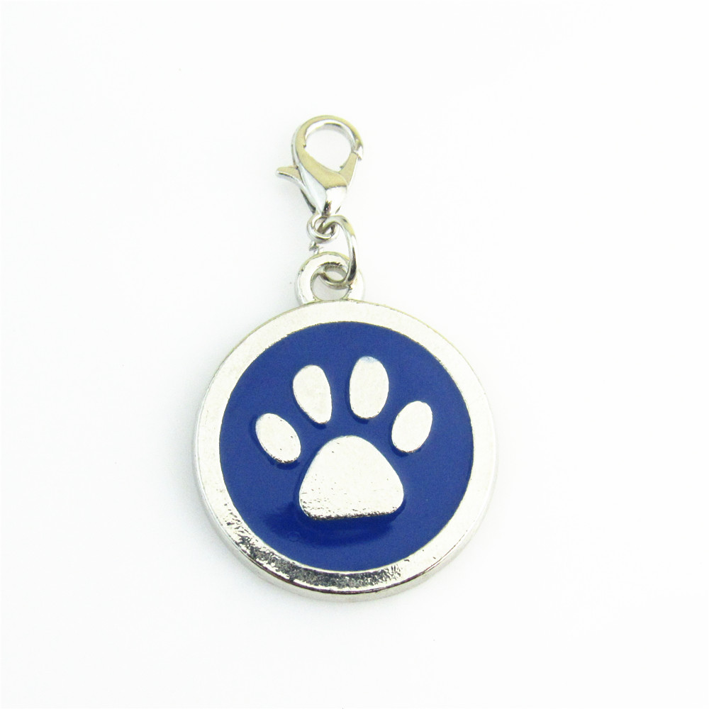 Paw Print Keychain /& Lanyard ID Badge Stainless Steel Silver Gift Set Dog Cat