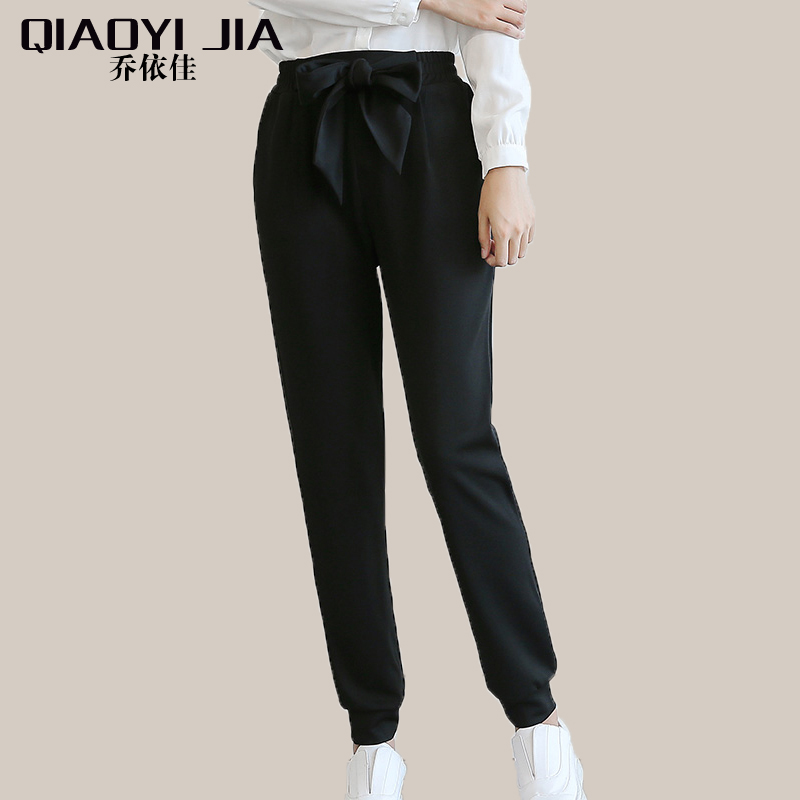 QIAOYI JIA Women OL high waist harem pants bow tie drawstring sweet elastic waist pockets casual trousers pantalones black/white 2
