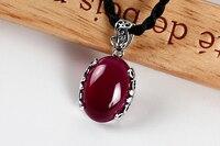 GARNET 925 Silver Necklace Pendant Silver Retro Red Jade Pendant Necklace just red garnet female