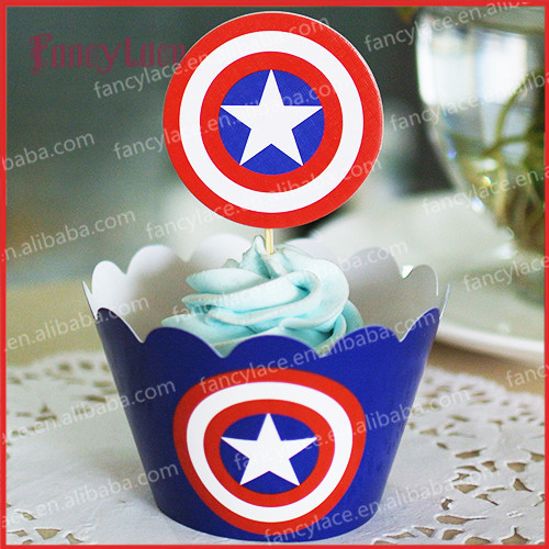 Captain America Cupcake Wrappers Cake Decoration for Birthday