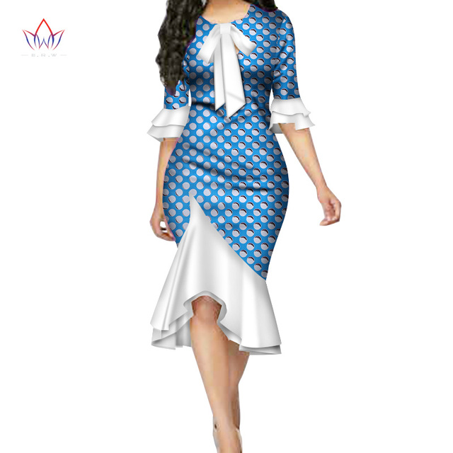 28adfdb5ace Fashion Vestidos African Dresses for Women Bazin Riche Bow Knot Patchwork  Dress Traditional African Women Clothing WY3390