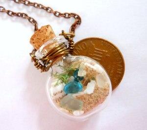 Ожерелье из стекла в виде раковины с песком и морем, 2 шт., украшения из кости, романтическое ожерелье в подарок для нее