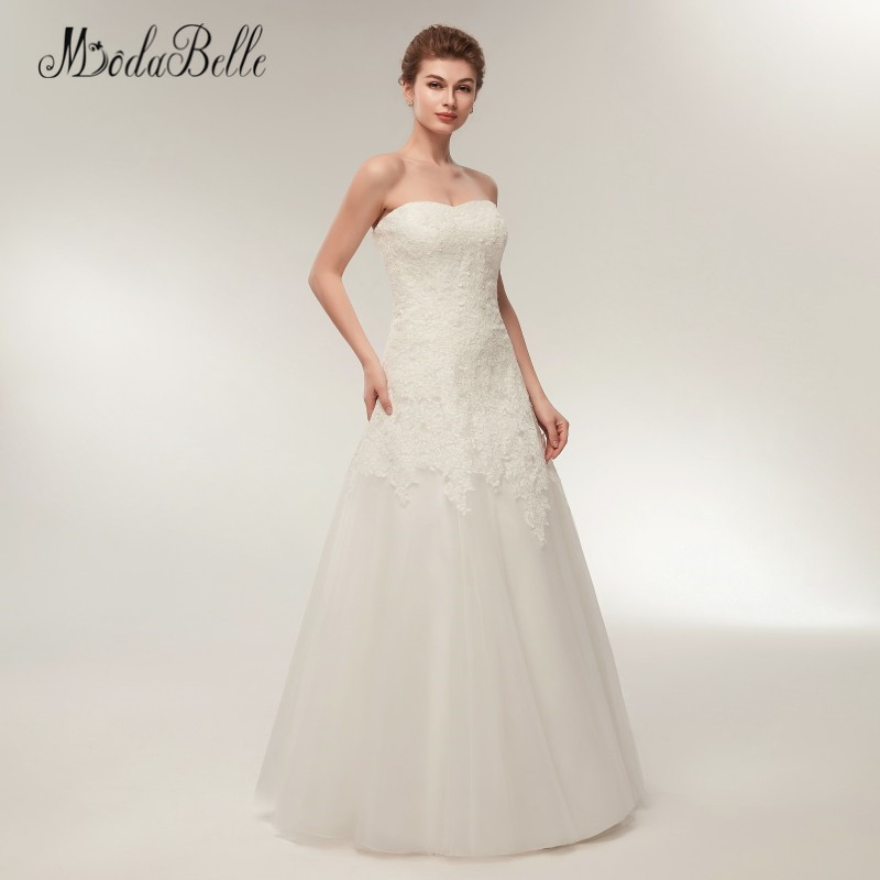 8fed9a8a14339 modabelle Strapless Beach Style Wedding Dresses Lace Floor Length  Sleeveless A Line Wedding Gown 2018 Abiti Da Sposa-in Wedding Dresses from  Weddings ...