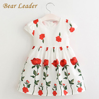 Bear Leader Girls Dress 2017 Brand Girls Clothes White Cute Floral Knee Length Design Dress For