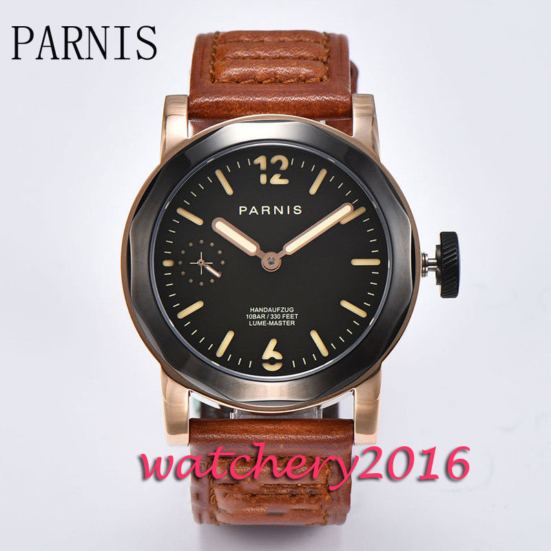 New 44mm Parnis black dial luminous hands rose golden case 17 jewels 6497 hand winding movement Men's watch 44mm parnis blue dial luxury brand silver hands rose golden plated case luminous marks leather 6497 hands winding men s watch