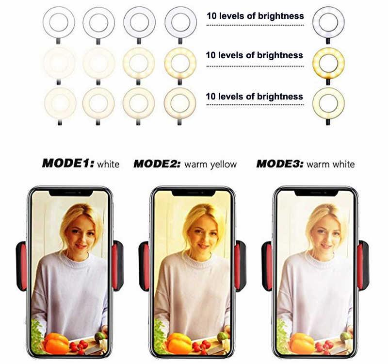 Photo studio selfie led anel de luz com telefone celular titular móvel para youtube live stream maquiagem câmera lâmpada para iphone android