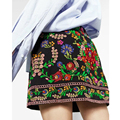Newest Fashion 2017 Spring Floral Embroidery Skirts Side Zipper Women Mini Skirt Brand saia  Sexy faldas  CCWM8167