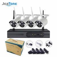 4pcs 2.0MP 4CH JeaTone HD 1080P NVR Sem Fio Câmera IP Wireless Home Security Sistema de Vigilância CCTV Noite Ao Ar Livre visão Cam