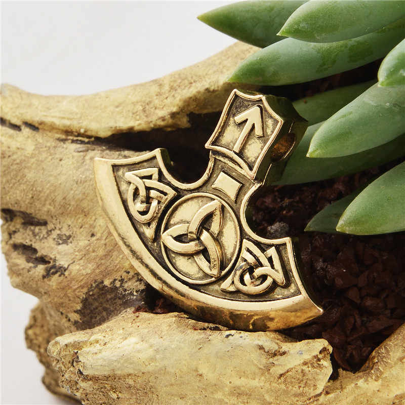 1 Máy tính Norse Viking Axe Rune Bùa Hộ Mệnh Mặt Dây Chuyền Tam Giác Rune Ba Sừng của Odin Bùa Hộ Mệnh Mặt Dây Chuyền
