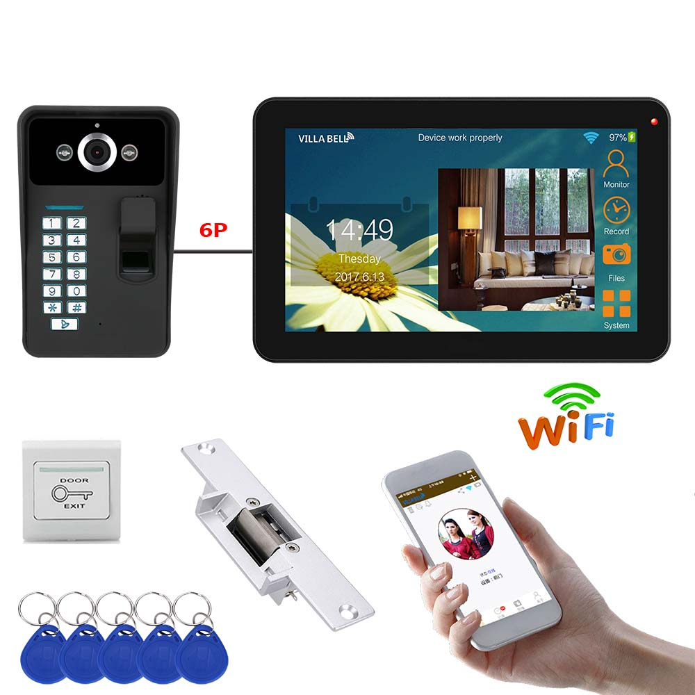 9 Inch Wired Wireless Wifi Fingerprint Video Door Phone Doorbell Intercom System With Electric Strike Lock + 1000TVL Camera