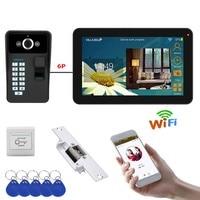9 inch Wired Wireless Wifi Fingerprint Video Door Phone Doorbell Intercom System with Electric Strike Lock + 1000TVL Camera