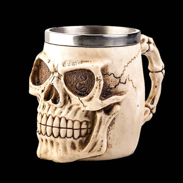 3D Realistic Skull Mugs Double Wall Stainless Steel Mug Cup Horror Big Skull Geek Coffee Beer Cup Cool Christmas Gift With Box