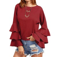 S 5XL Oversized Womens Solid Bell Sleeve Blusas Femininos Ladies Loose Butterfly Long Sleeve Fluncing Ruffle
