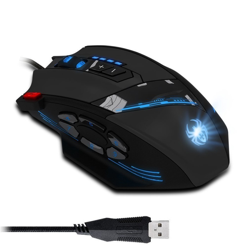 Zelotes c12 wired gaming mouse 4000 dpi 12 pulsanti del mouse led ottico usb professionale gaming mouse per dota gamer spedizione liberoZelotes c12 wired gaming mouse 4000 dpi 12 pulsanti del mouse led ottico usb professionale gaming mouse per dota gamer spedizione libero