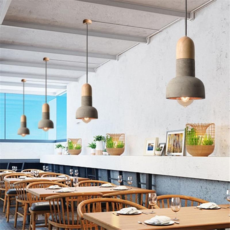 Nordic Vintage LED Pendant Light Cement Wood Lamp Loft Retro HangLampen Dining Room Lights Antique Industrial Lighting Lampara