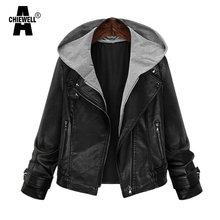 Achiewell Spring Plus Size Women PU Leather Jacket Hooded Patchwork Long Sleeve Black Slim Short Women Jacket Coat XL-5XL
