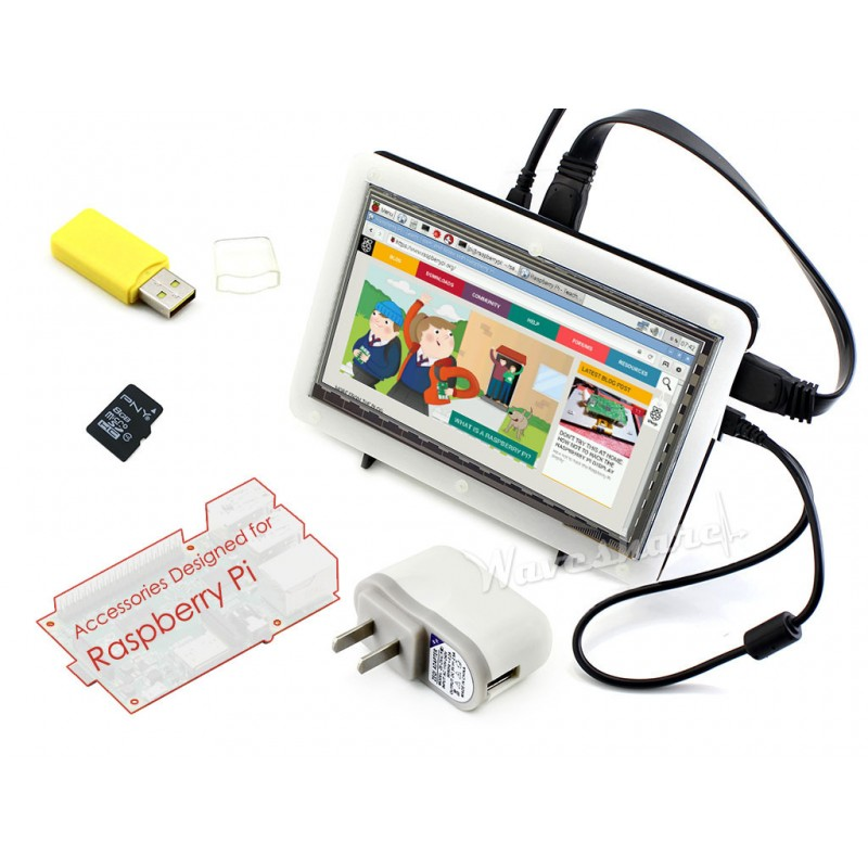 ФОТО Waveshare Raspberry Pi Accessory F 7inch HDMI LCD Capacitive Touch Screen + Bicolor Case + 16GB Micro SD card + Power Adapter