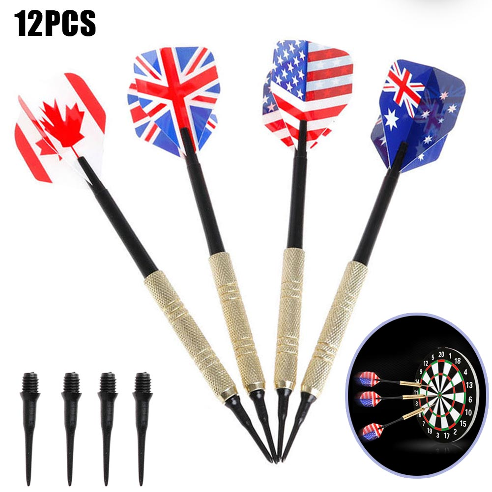 12pcs Brass Darts National Flag Flights Metal Needle Dart Set with Extra Dart Heads FH99