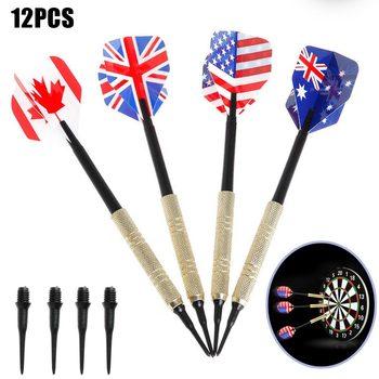 12pcs Brass Darts National Flag Flights w/ Metal Needle