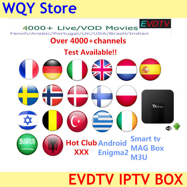 IPTV 4000+ channels EVDTV IPTV subscription Europe Spain Sweden Arabic  French Italy Norway Saudi Arabia M3U Smart TV Mag tv box