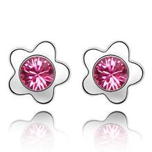 2016 Genuine Crystals From Swarovski Plum Flowers Stud Earrings For Girls Kids Gift Women Fashion Jewelry